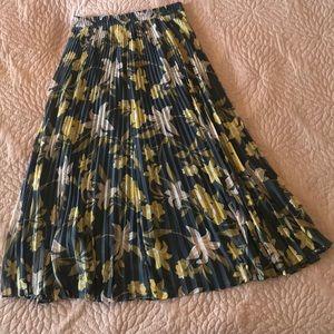 LOFT: Pleated floral maxi skirt
